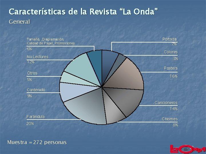 """Características de la Revista """"La Onda"""" General Tamaño, , Diagramación, Calidad de Papel, Promociones"""
