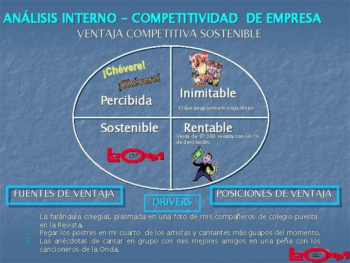 ANÁLISIS INTERNO - COMPETITIVIDAD DE EMPRESA VENTAJA COMPETITIVA SOSTENIBLE Percibida Sostenible FUENTES DE VENTAJA