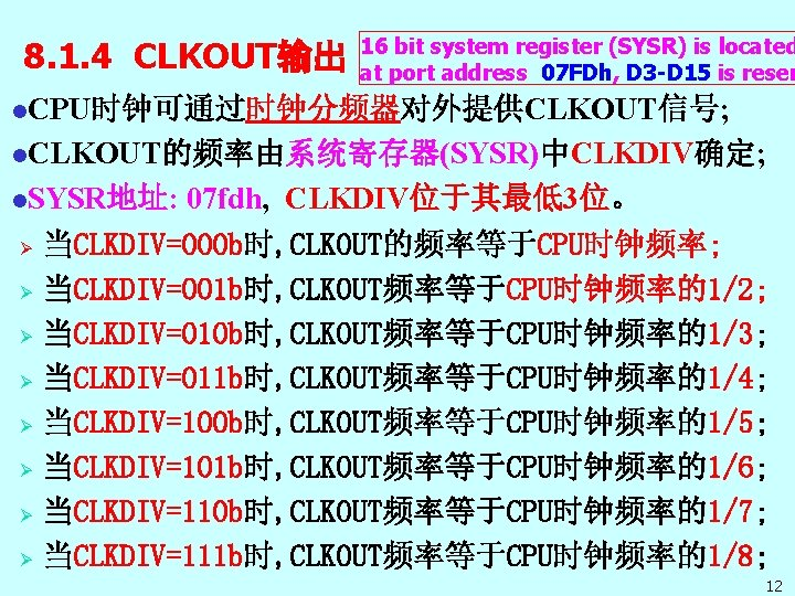 8. 1. 4 CLKOUT输出 16 bit system register (SYSR) is located at port address