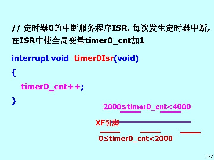 // 定时器 0的中断服务程序ISR. 每次发生定时器中断, 在ISR中使全局变量timer 0_cnt加 1 interrupt void timer 0 Isr(void) { timer