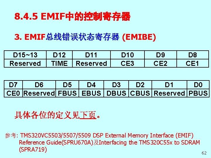 8. 4. 5 EMIF中的控制寄存器 3. EMIF总线错误状态寄存器 (EMIBE) D 15~13 Reserved D 12 TIME D