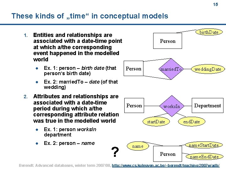 """15 These kinds of """"time"""" in conceptual models 1. 2. birth. Date Entities and"""