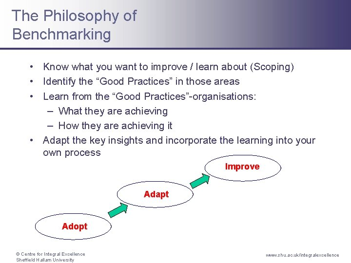 The Philosophy of Benchmarking • Know what you want to improve / learn about