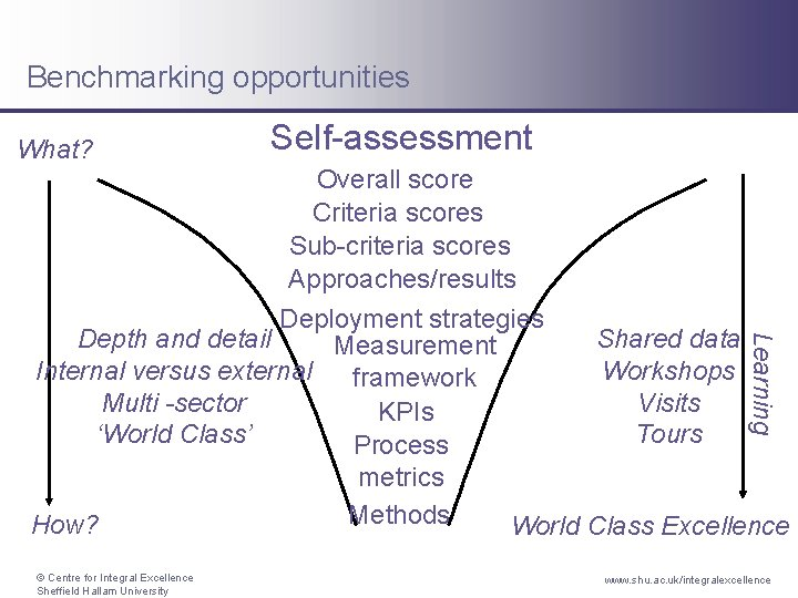Benchmarking opportunities What? Self-assessment Learning Overall score Criteria scores Sub-criteria scores Approaches/results Deployment strategies