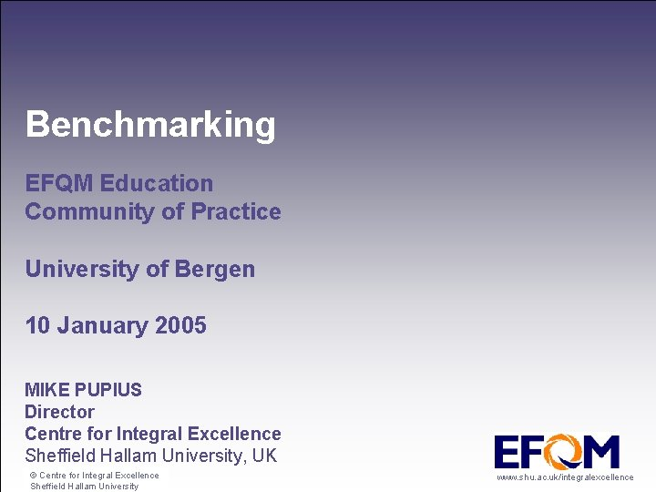 Benchmarking EFQM Education Community of Practice University of Bergen 10 January 2005 MIKE PUPIUS