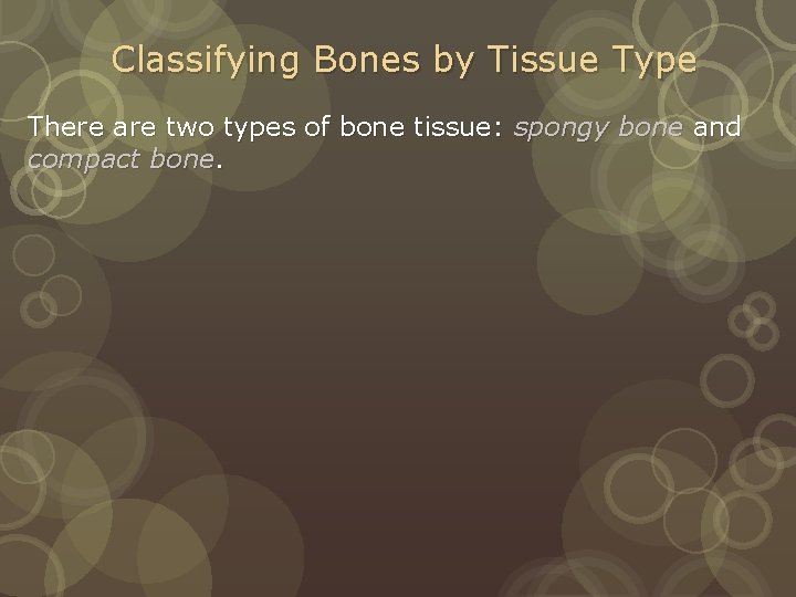 Classifying Bones by Tissue Type There are two types of bone tissue: spongy bone