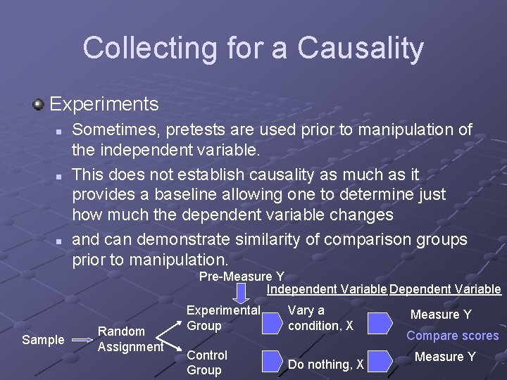 Collecting for a Causality Experiments n n n Sometimes, pretests are used prior to
