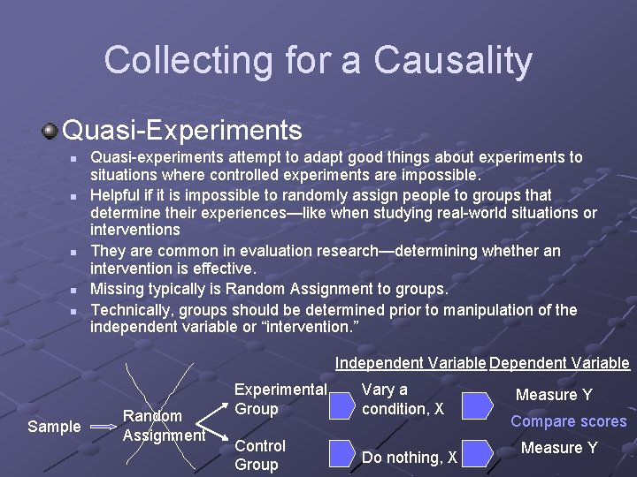 Collecting for a Causality Quasi-Experiments n n n Quasi-experiments attempt to adapt good things