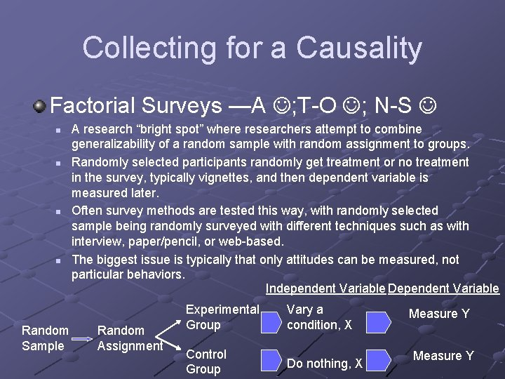 Collecting for a Causality Factorial Surveys —A ; T-O ; N-S n n Random
