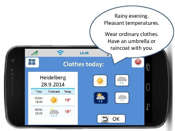 Rainy evening. Pleasant temperatures. 13: 45 Wear ordinary clothes. Have an umbrella or raincoat