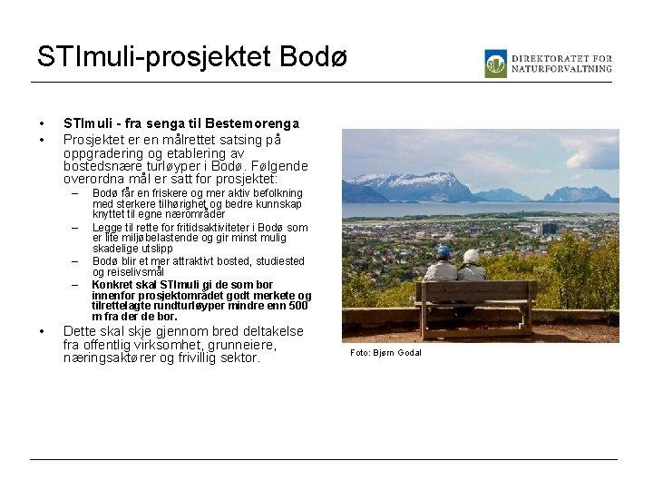 STImuli-prosjektet Bodø • • STImuli - fra senga til Bestemorenga Prosjektet er en målrettet
