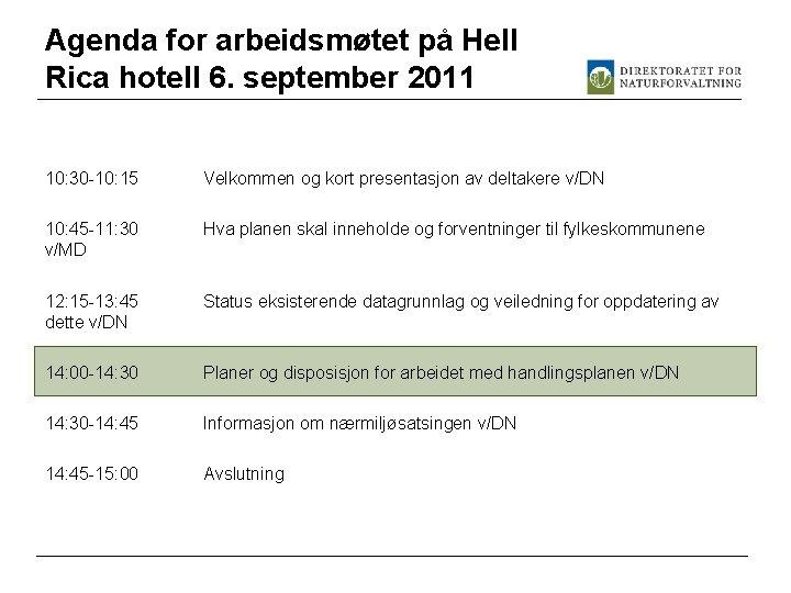 Agenda for arbeidsmøtet på Hell Rica hotell 6. september 2011 10: 30 -10: 15