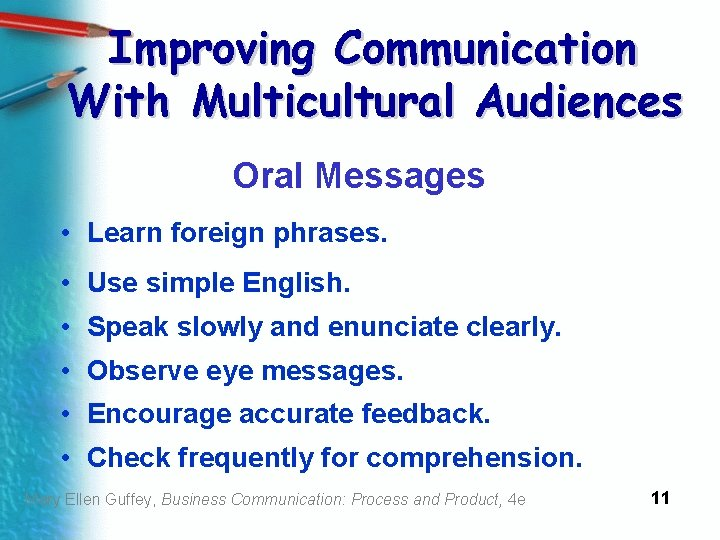 Improving Communication With Multicultural Audiences Oral Messages • Learn foreign phrases. • Use simple
