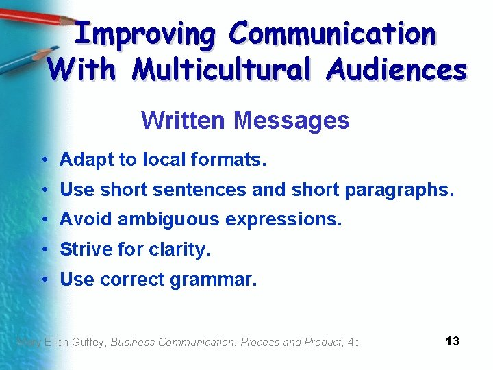 Improving Communication With Multicultural Audiences Written Messages • Adapt to local formats. • Use