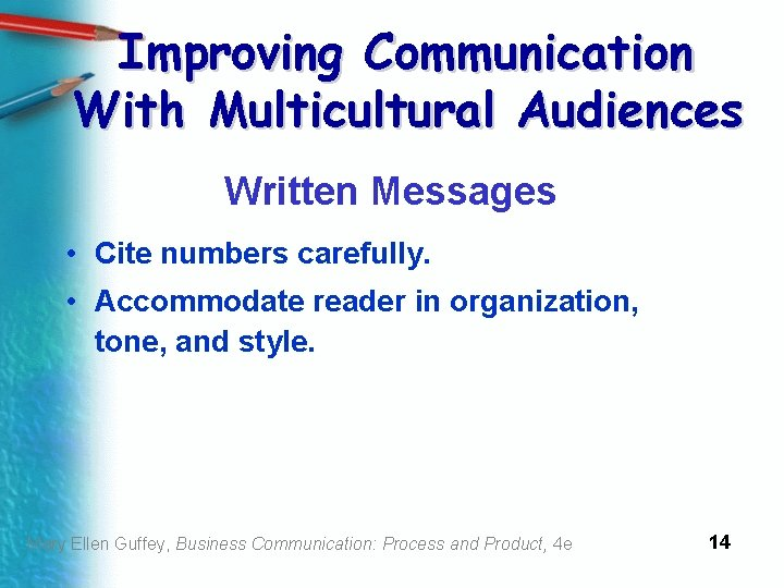 Improving Communication With Multicultural Audiences Written Messages • Cite numbers carefully. • Accommodate reader