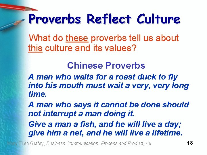 Proverbs Reflect Culture What do these proverbs tell us about this culture and its