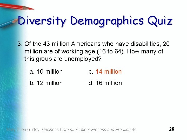 Diversity Demographics Quiz 3. Of the 43 million Americans who have disabilities, 20 million