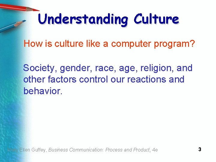 Understanding Culture How is culture like a computer program? Society, gender, race, age, religion,