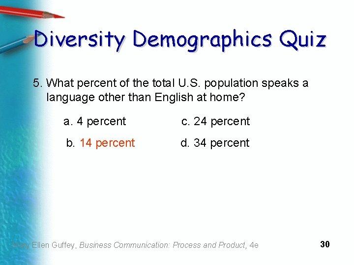 Diversity Demographics Quiz 5. What percent of the total U. S. population speaks a