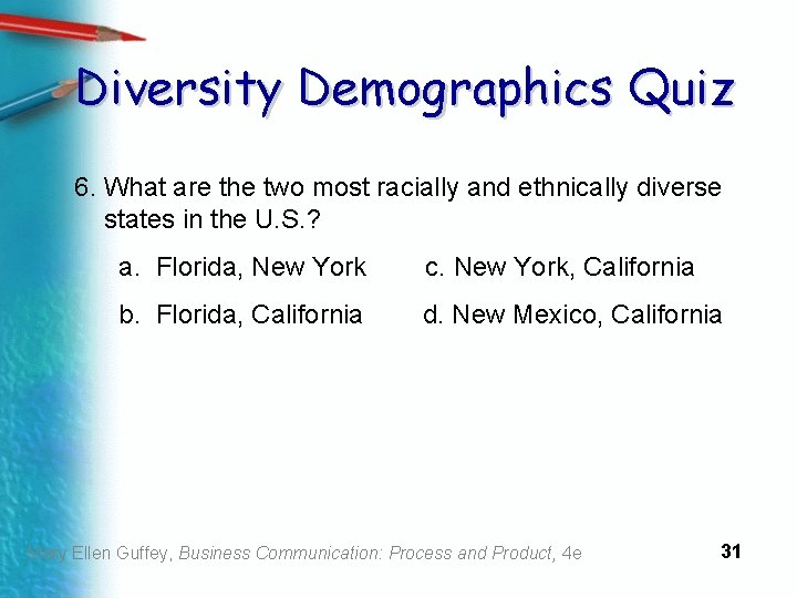 Diversity Demographics Quiz 6. What are the two most racially and ethnically diverse states