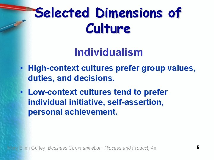 Selected Dimensions of Culture Individualism • High-context cultures prefer group values, duties, and decisions.