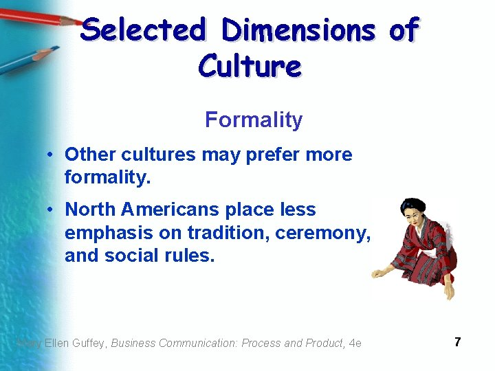 Selected Dimensions of Culture Formality • Other cultures may prefer more formality. • North
