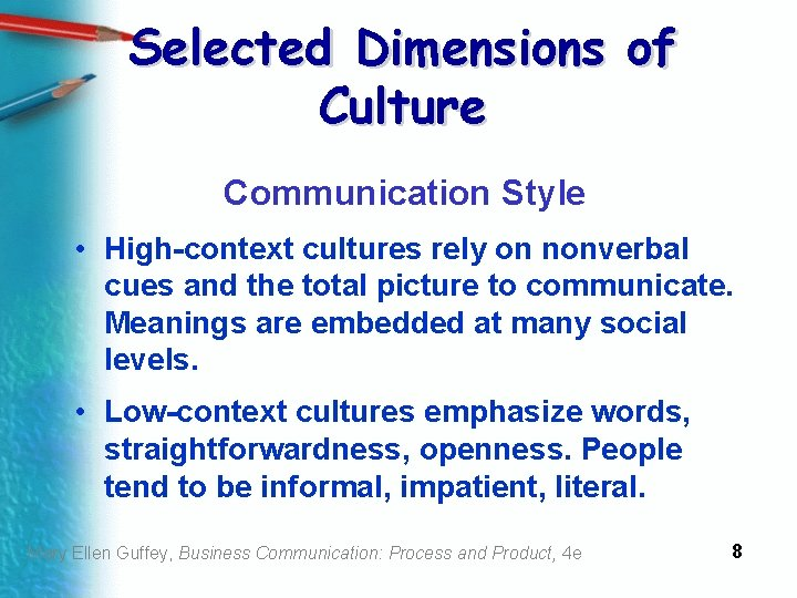 Selected Dimensions of Culture Communication Style • High-context cultures rely on nonverbal cues and