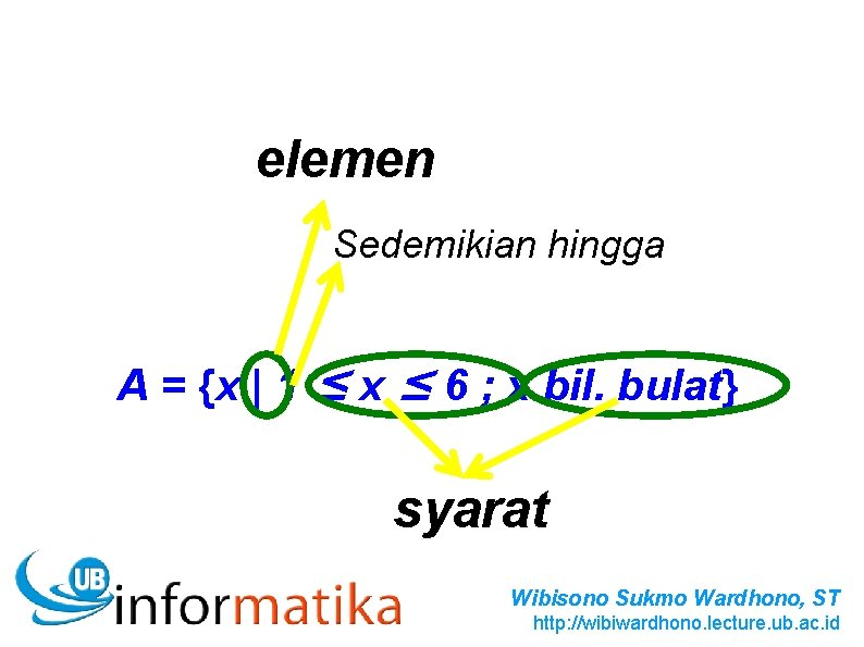 Listing Method elemen A = {1, 2, 3, 4, 5, 6} Sedemikian hingga Description