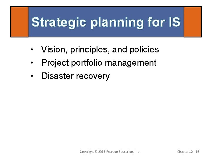 Strategic planning for IS • Vision, principles, and policies • Project portfolio management •