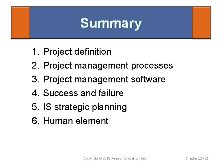 Summary 1. 2. 3. 4. 5. 6. Project definition Project management processes Project management