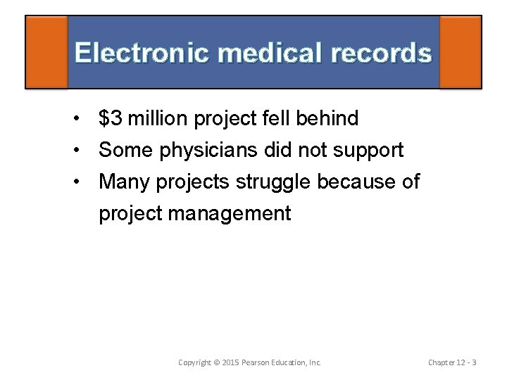 Electronic medical records • $3 million project fell behind • Some physicians did not