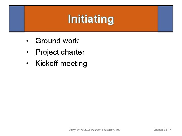 Initiating • Ground work • Project charter • Kickoff meeting Copyright © 2015 Pearson
