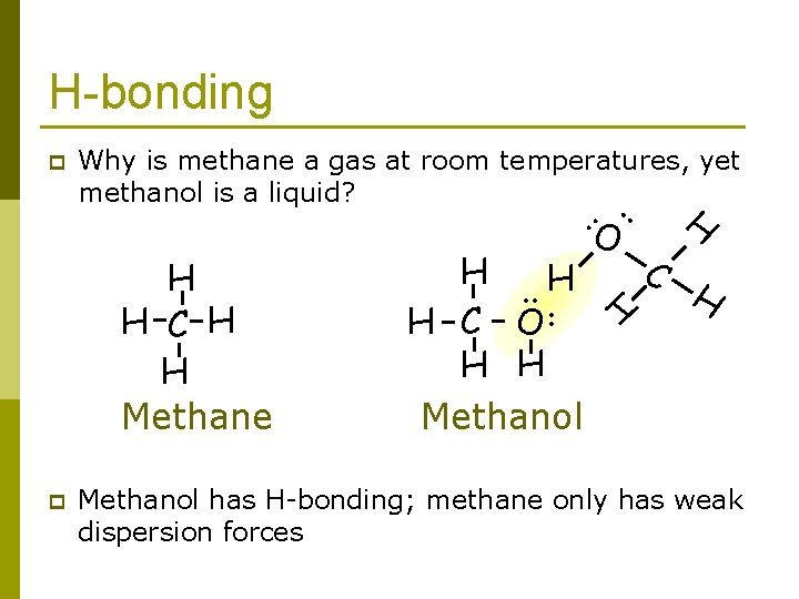 H-bonding Why is methane a gas at room temperatures, yet methanol is a liquid?