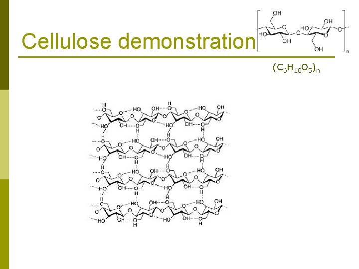 Cellulose demonstration (C 6 H 10 O 5)n