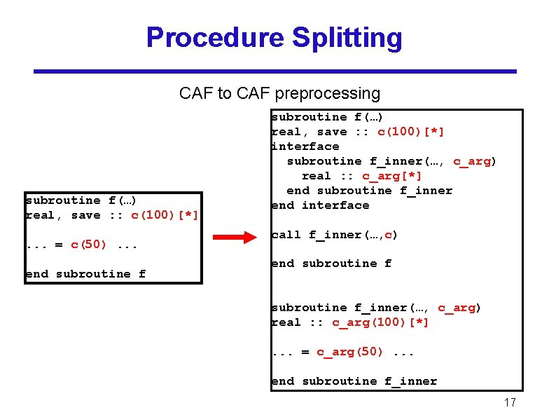 Procedure Splitting CAF to CAF preprocessing subroutine f(…) real, save : : c(100)[*]. .