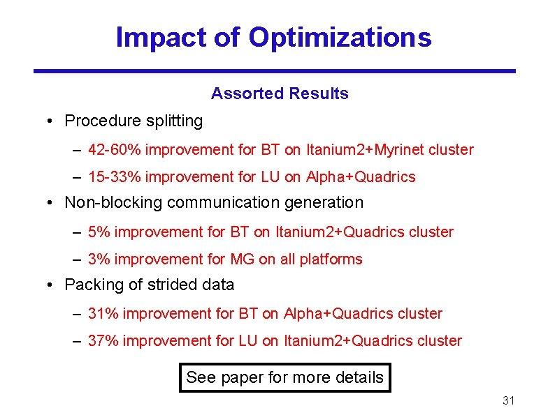 Impact of Optimizations Assorted Results • Procedure splitting – 42 -60% improvement for BT