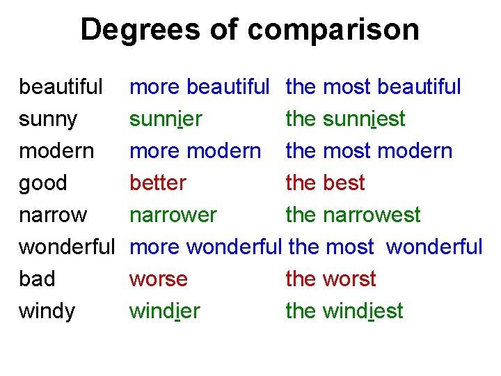 Degrees of comparison beautiful sunny modern good narrow wonderful bad windy more beautiful the