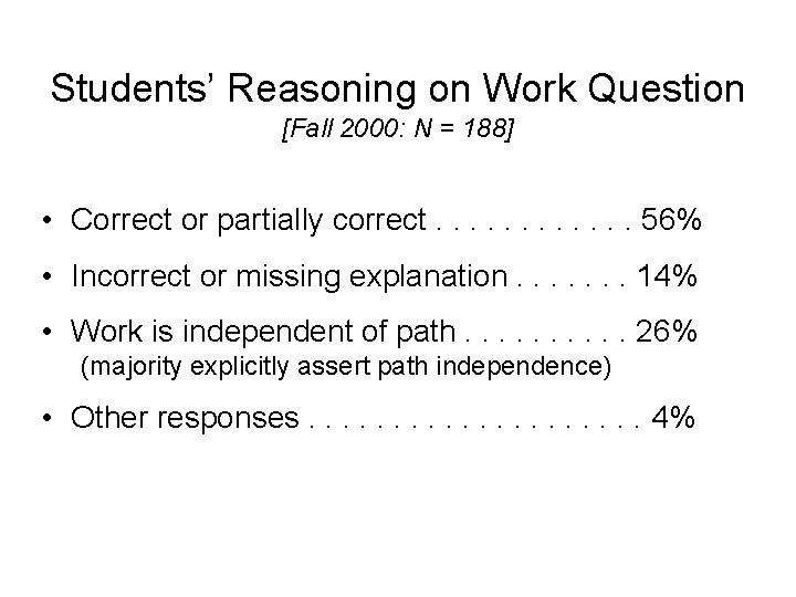 Students' Reasoning on Work Question [Fall 2000: N = 188] • Correct or partially