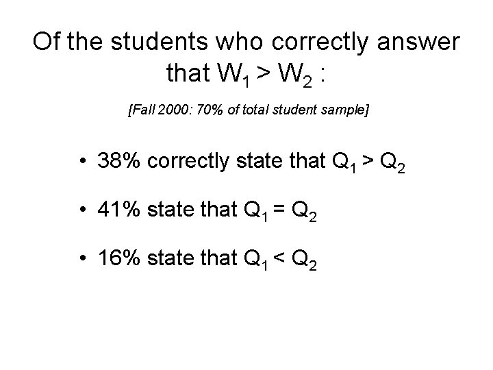 Of the students who correctly answer that W 1 > W 2 : [Fall