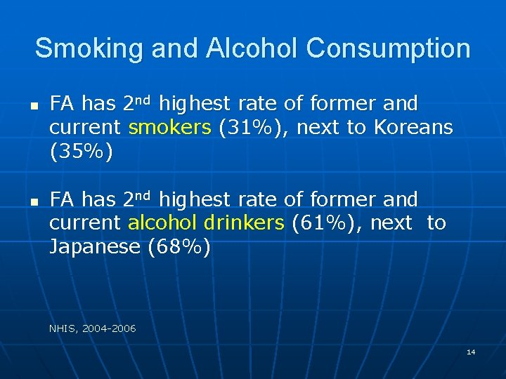 Smoking and Alcohol Consumption n n FA has 2 nd highest rate of former