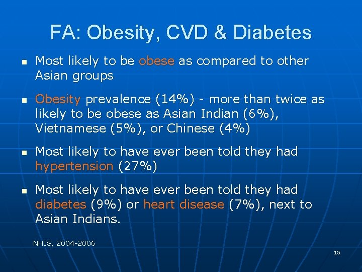 FA: Obesity, CVD & Diabetes n n Most likely to be obese as compared