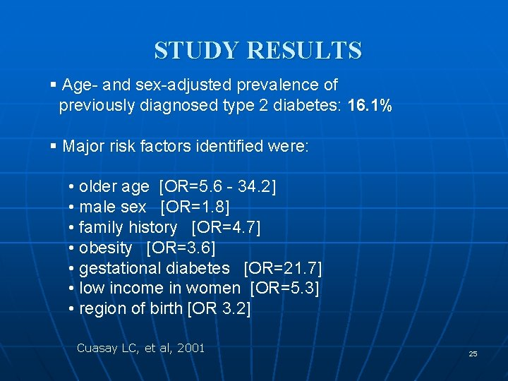 STUDY RESULTS § Age- and sex-adjusted prevalence of previously diagnosed type 2 diabetes: 16.