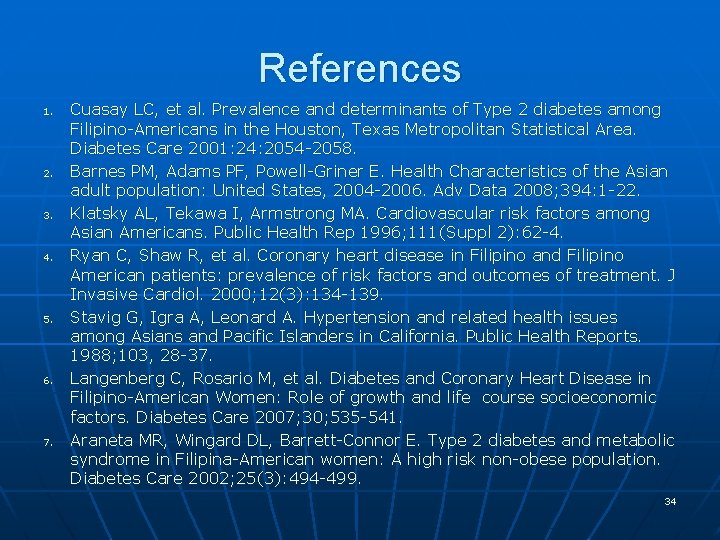 References 1. 2. 3. 4. 5. 6. 7. Cuasay LC, et al. Prevalence and