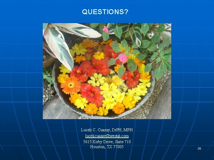 QUESTIONS? Luceli C. Cuasay, Dr. PH, MPH lucelicuasay@westat. com 5615 Kirby Drive, Suite 710