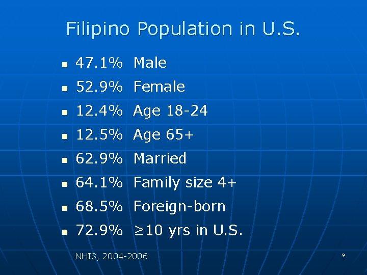 Filipino Population in U. S. n 47. 1% Male n 52. 9% Female n