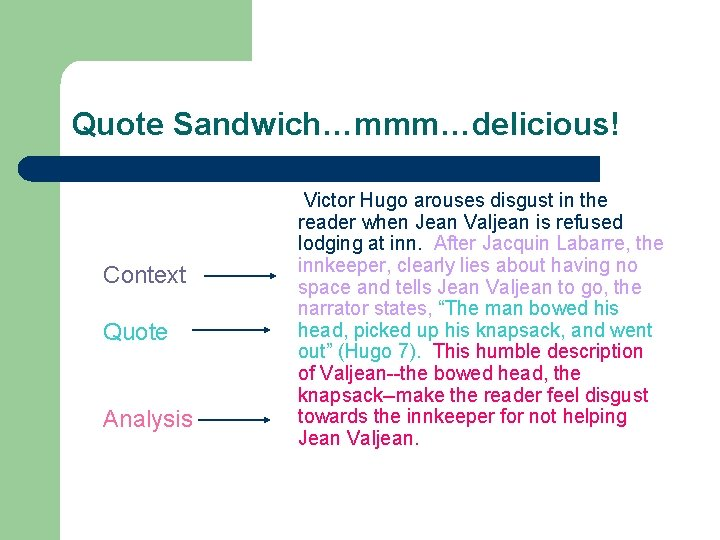 Quote Sandwich…mmm…delicious! Context Quote Analysis Victor Hugo arouses disgust in the reader when Jean