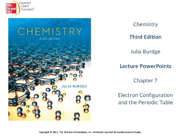 Chemistry Third Edition Julia Burdge Lecture Power. Points Chapter 7 Electron Configuration and the