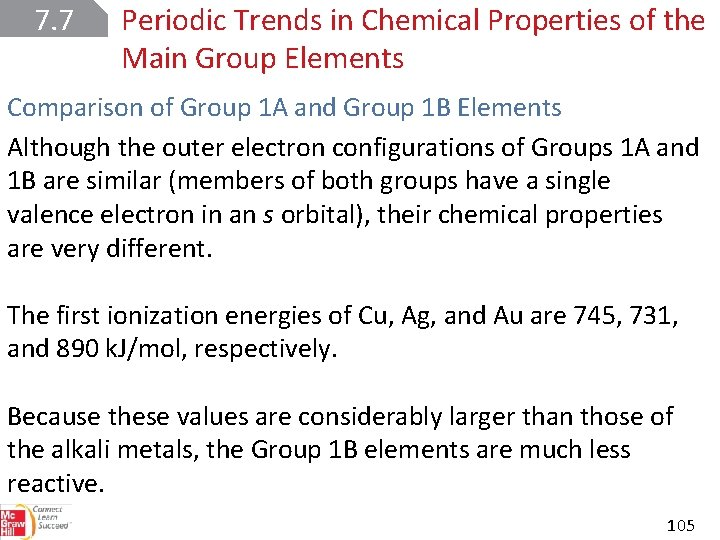 7. 7 Periodic Trends in Chemical Properties of the Main Group Elements Comparison of