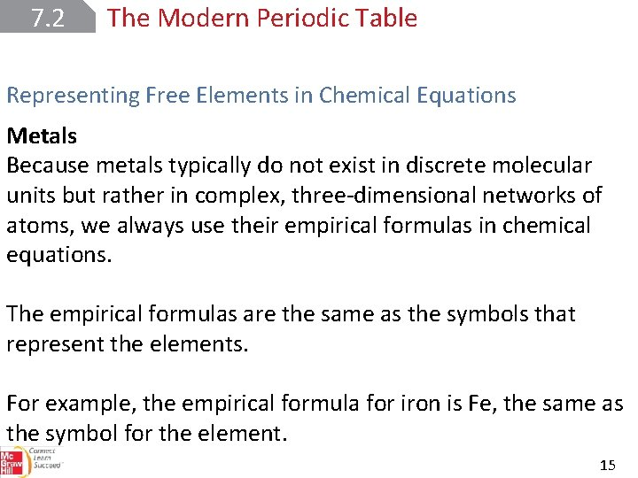 7. 2 The Modern Periodic Table Representing Free Elements in Chemical Equations Metals Because