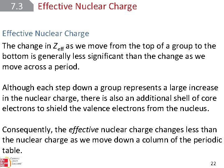 7. 3 Effective Nuclear Charge The change in Zeff as we move from the